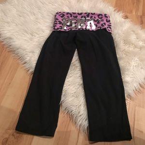 Pink Victoria's Secret Logo Crop Yoga Pants Cheeta